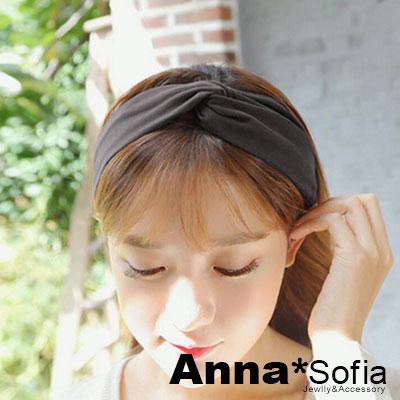 AnnaSofia-麂皮絨交叉結-彈性寬髮帶-酷黑系