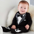 Baby Aspen BAS 變裝派對黑領結小紳士長袖包腳連身裝套裝彌月禮盒組