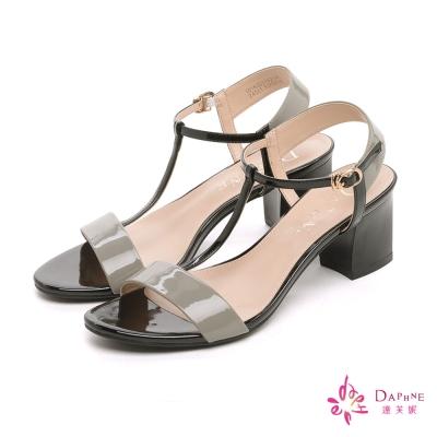 達芙妮DAPHNE-知性香榭簡約撞色T字粗跟涼鞋-知性灰