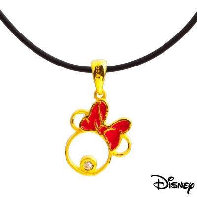 Disney迪士尼系列金飾 黃金墜子-甜美美妮款 送項鍊