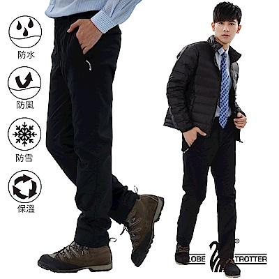 【遊遍天下】男款3D顯瘦防水防風禦寒軟殼刷毛褲GP20003黑