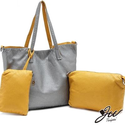 JW時尚簡約大容量雙面翻子母包三件組-共5色-金屬