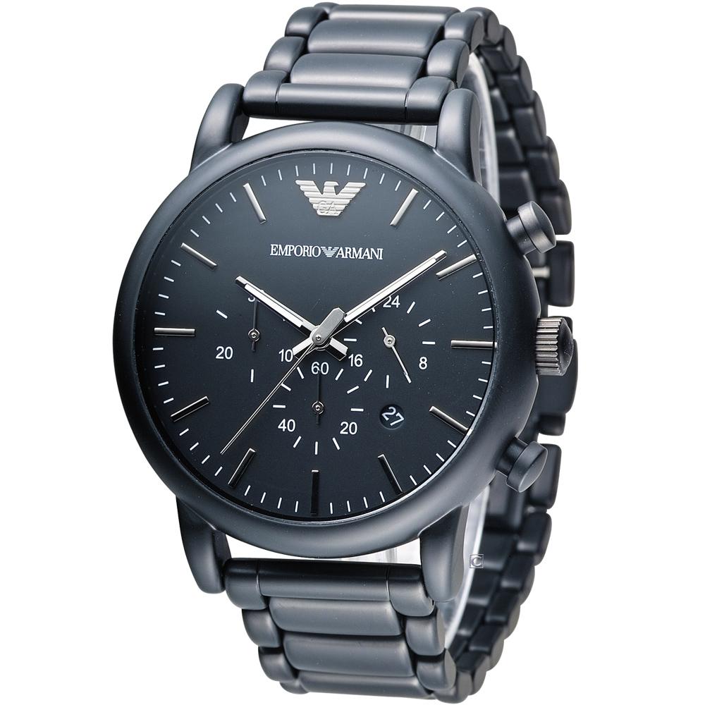 EMPORIO ARMANI Classic 英倫簡約風計時腕錶-黑鋼/46mm