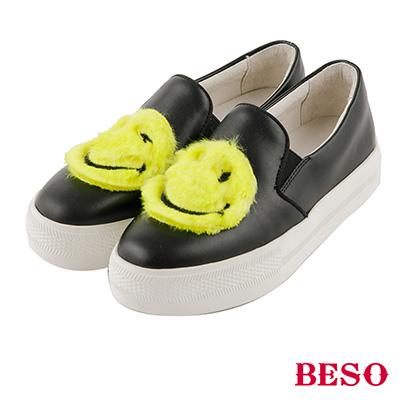 BESO  童趣玩心 可愛絨毛暖心不對稱笑臉休閒鞋~黑
