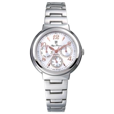 Olym Pianus 奧柏表  Vogue。輕時尚三眼計時都會腕錶-白/34mm
