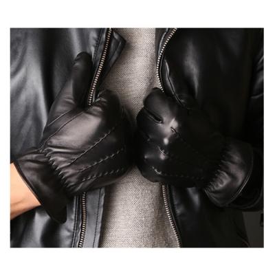 ego life小羊皮縫線加絨全觸控保暖男手套黑色 L/M款可選