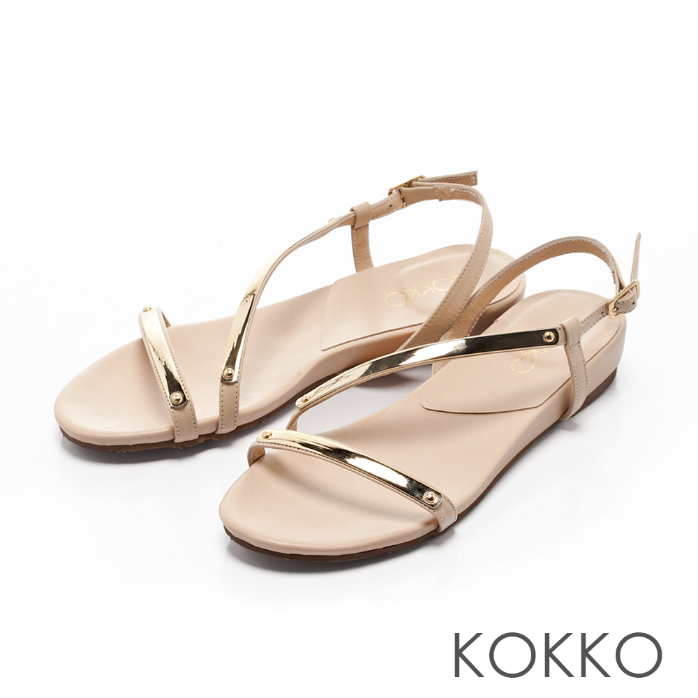 KOKKO-柔美曲線金屬光真皮平底涼鞋-清純米