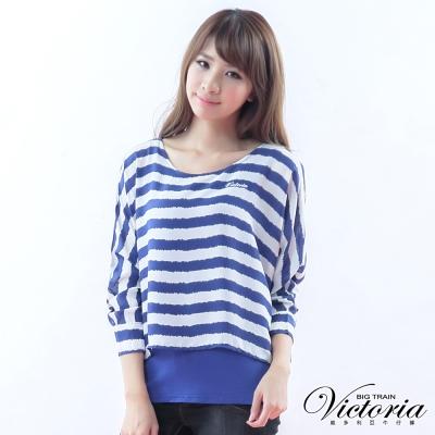 Victoria 假兩件寬鬆條紋雪紡T-女-寶藍