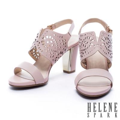 涼鞋 HELENE SPARK 鏤空雕花牛皮一字粗跟涼鞋-粉