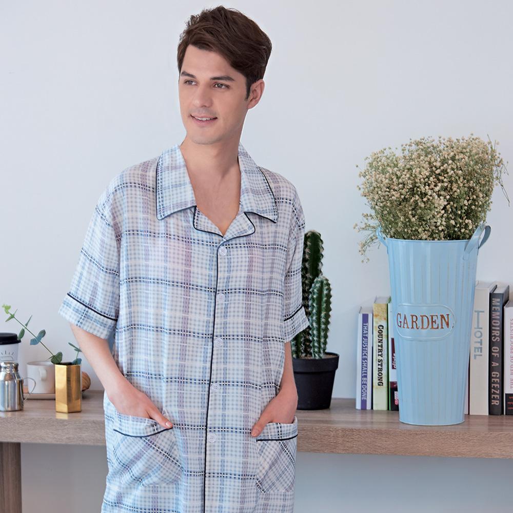 睡衣 精梳棉 男性短袖兩件式睡衣(78053-6)灰白美式格紋 蕾妮塔塔
