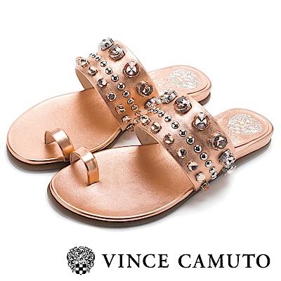 Vince Camuto 小羊皮寬版水鑽平底拖鞋-玫瑰金