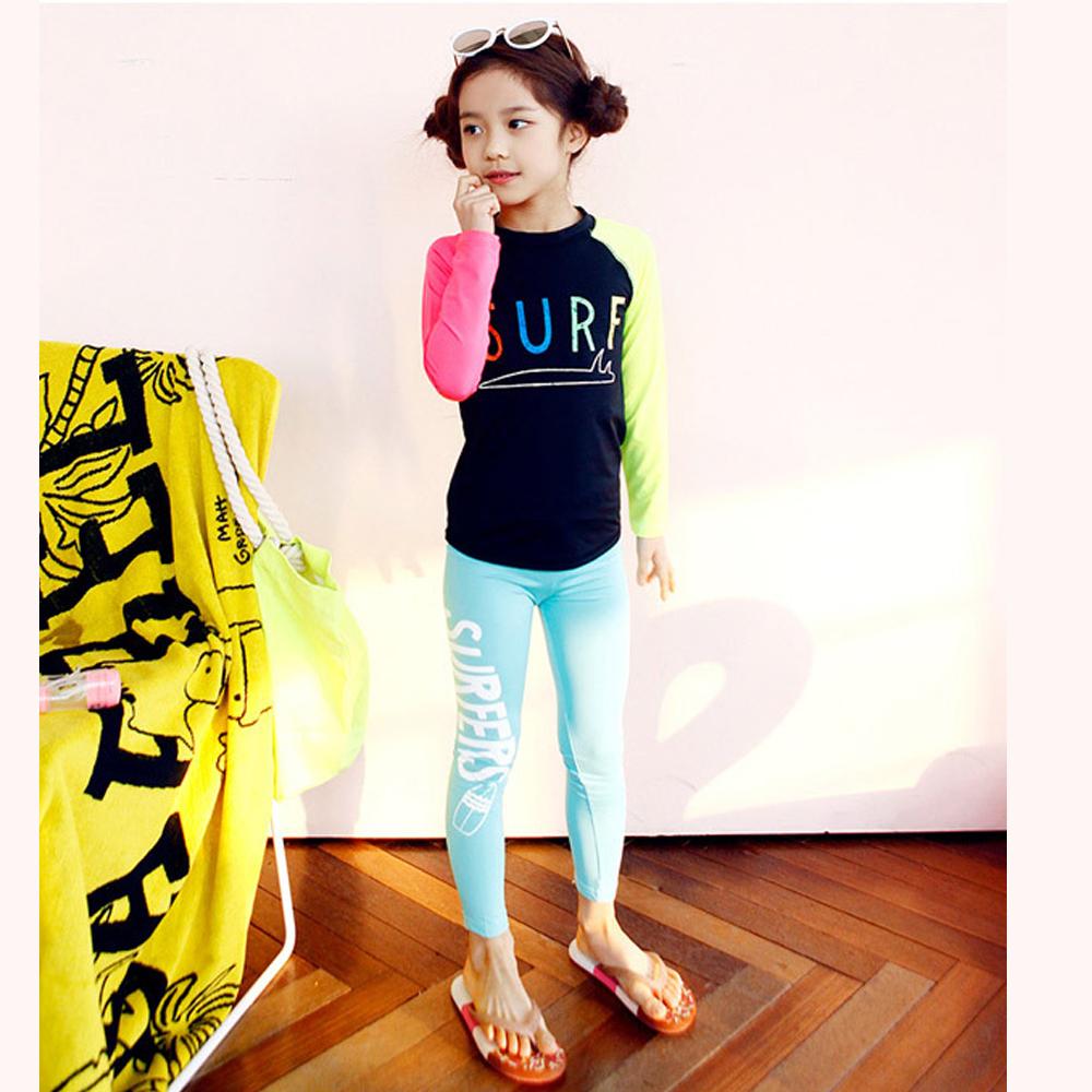 Biki比基尼妮泳衣   彩虹長袖泳衣兒童泳衣小朋友(M-4XL)