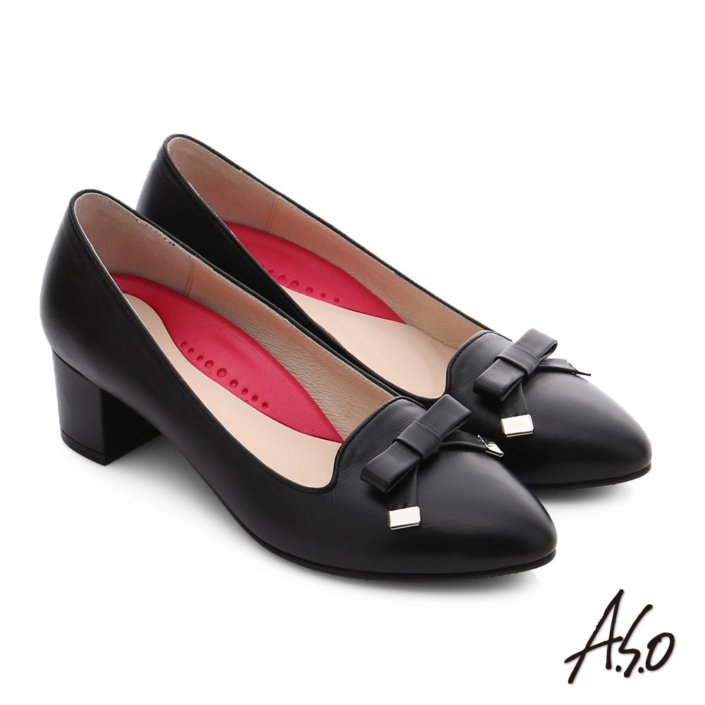 A.S.O 職場女力 綿羊皮蝴蝶結3D窩心中跟鞋 黑色