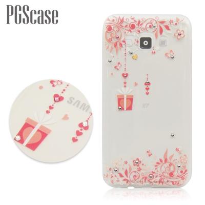 PGS Samsung Galaxy E7 奧地利彩鑽手機殼-禮物花