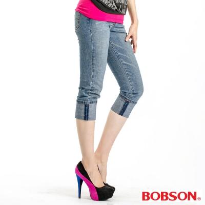 BOBSON 女款貓鬚反褶八分褲
