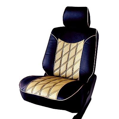 【葵花】量身訂做-汽車椅套-日式合成皮-開運格子-D款-雙前座