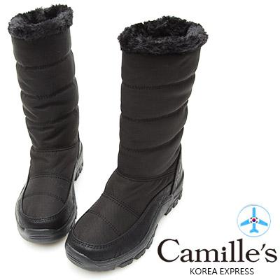 Camille's 韓國空運-正韓製-2WAY絨毛車線太空中筒雪靴-黑色