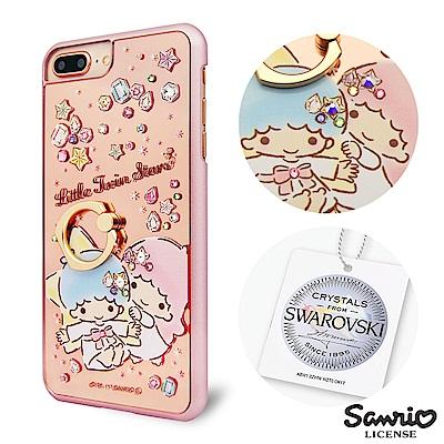 三麗鷗 iPhone8/7/6s Plus 施華彩鑽鏡面指環扣手機殼-寶石雙子星
