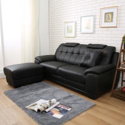日安家居 Rob羅布尊爵L型皮沙發/三人+腳椅