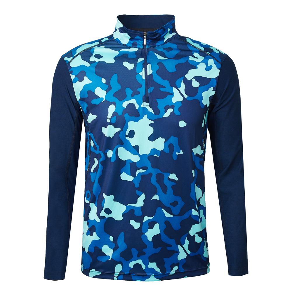 【Wildland 荒野】男彈性抗UV迷彩長袖功能衣迷彩藍