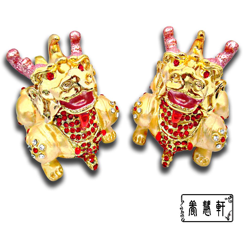 養慧軒 銅鎏金 招財金貔貅+水鑽 聚寶盆擺件( 一對,身長8公分)