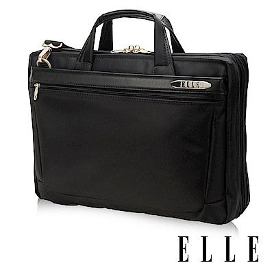 ELLE HOMME 紳士皮革公事包IPAD/14吋筆電置物層 側背手提兩用-黑大