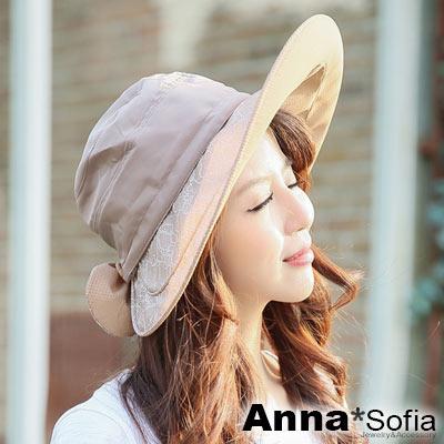 AnnaSofia-蕾絲圓節-兩用防曬遮陽寬簷遮陽帽漁夫帽-駝系