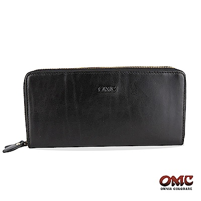 OMC 原皮系列-植鞣牛皮雙拉鏈25卡透明窗雙隔層零錢長夾-黑色