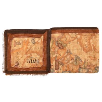 Alviero Martini 義大利地圖 經典地圖流蘇長圍巾(45X180) 咖啡