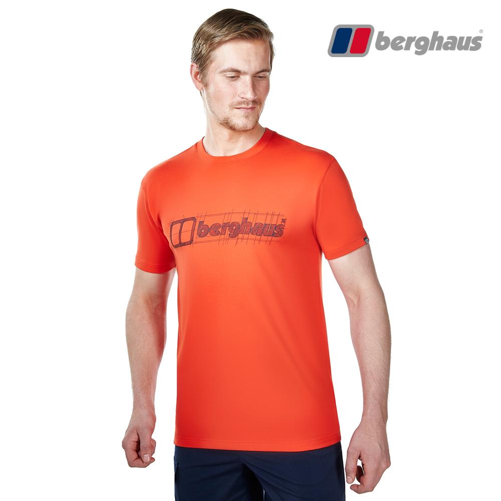 【Berghaus貝豪斯】男款銀離子除臭抗菌吸濕快乾抗UV上衣S04M90火山紅
