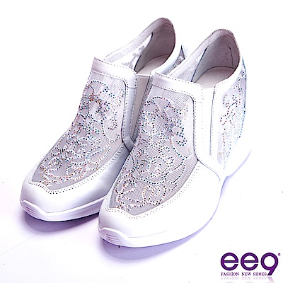 ee9 電繡水鑽拼接繽紛撞色內增高休閒鞋 白色
