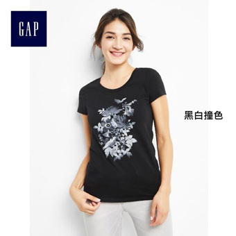 Gap 春新款雙色花朵圓領T恤