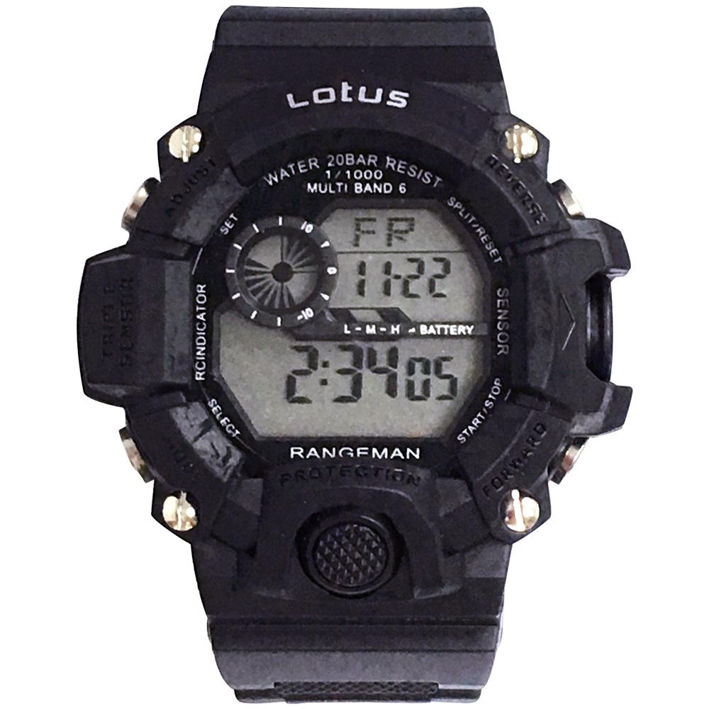 Lotus 迅雷防震 計時鬧鈴運動錶(LS-2025-01)-黑/52mm @ Y!購物