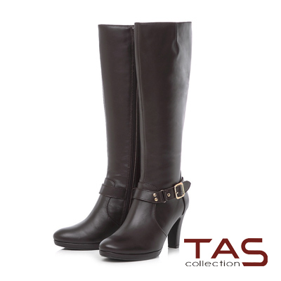 TAS 金屬皮帶扣折線素面牛皮高跟長靴-魅力咖
