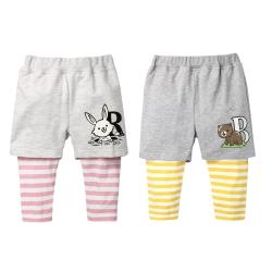 baby童衣 童趣印花假兩件造型條紋內搭長褲 70059