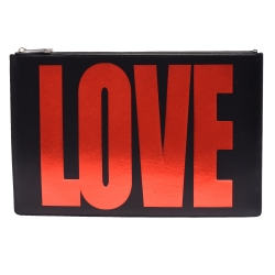 GIVENCHY LOVE燙金字樣品牌子字母烙印小牛皮手拿包(黑色)