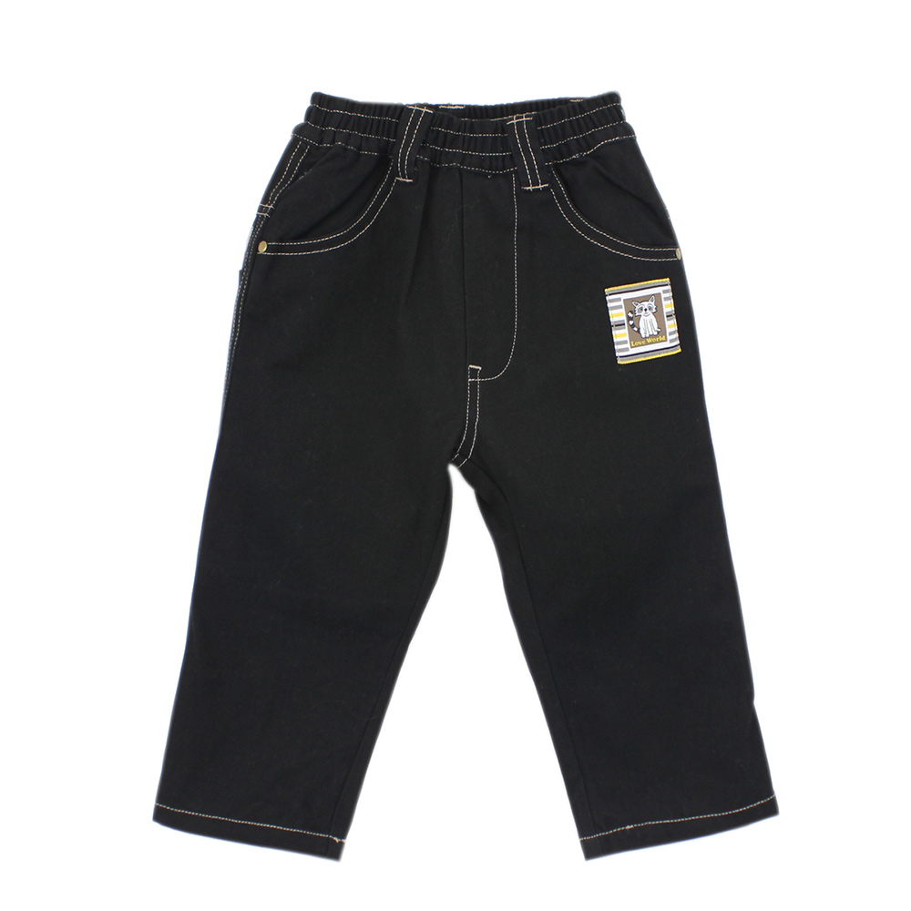 愛的世界 純棉鬆緊帶小浣熊牛仔長褲 6-12歲