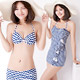 天使霓裳-俏麗波浪-三件式比基尼泳衣-白藍M-XL