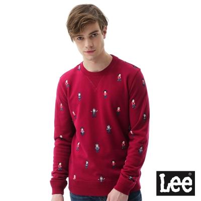 Lee Buddylee印刷長袖圓領厚T恤/RG-男款-紅