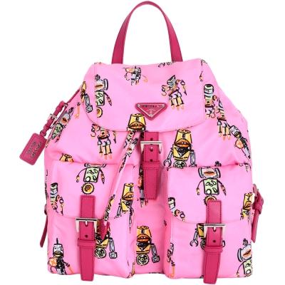 PRADA Robot 彩繪機器人圖案雙口袋尼龍後背包(粉色)