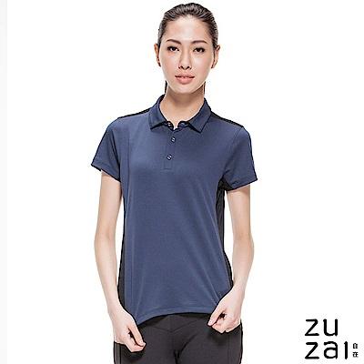 zuzai 自在瞬涼透氣短袖POLO衫-女-深藍色