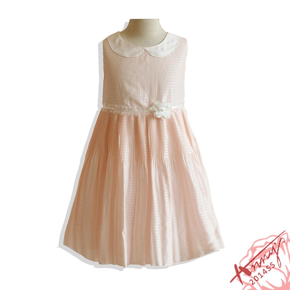 安妮公主童裝 晶亮緹花平圓領壓摺洋裝*粉110cm