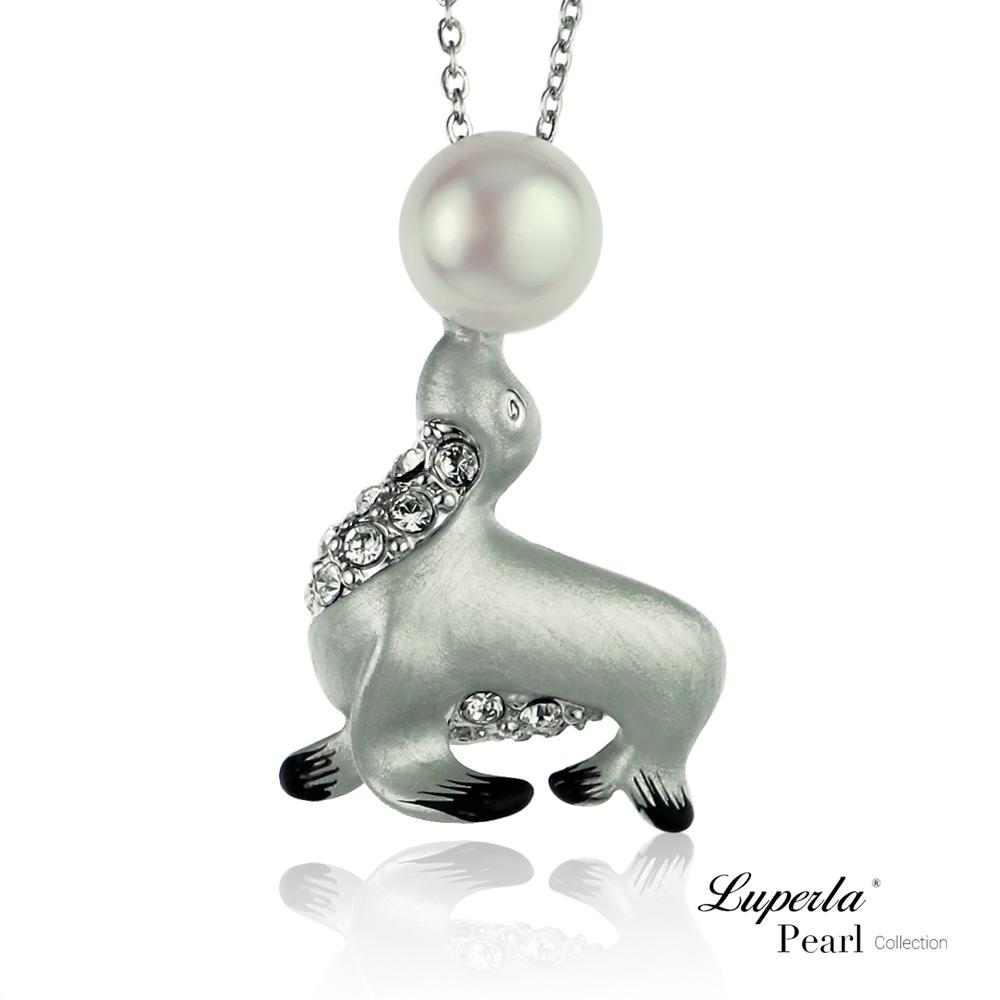 大東山珠寶 淡水珍珠施華洛世奇墬飾長版項鍊  童話小海獅