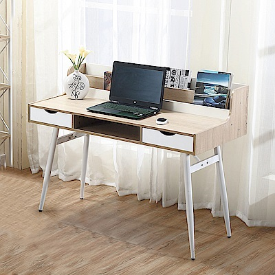 Bernice-白星4尺多格鐵架書桌-120x60x76cm