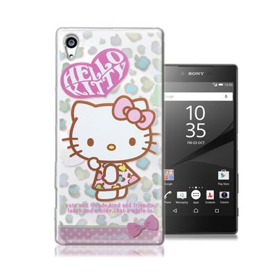 三麗鷗正版 凱蒂貓 Sony Z5 Premium 5.5吋 透明軟式保護殼(豹...