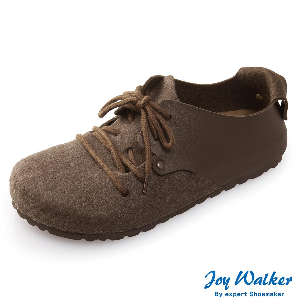 Joy Walker 休閒撞色拼接綁帶包鞋* 深咖