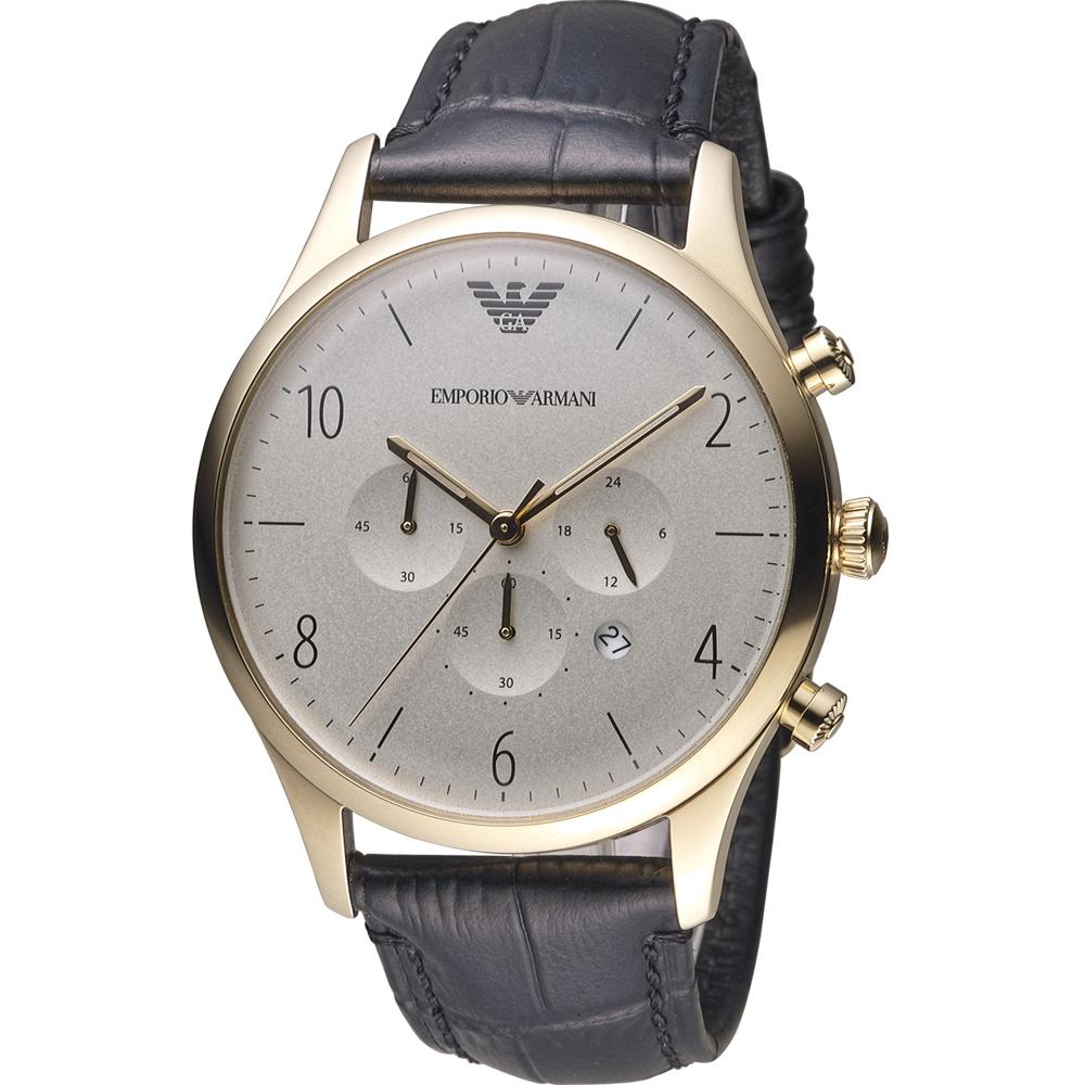 Emporio Armani Classic 復刻計時時尚腕錶-黑x金/43mm