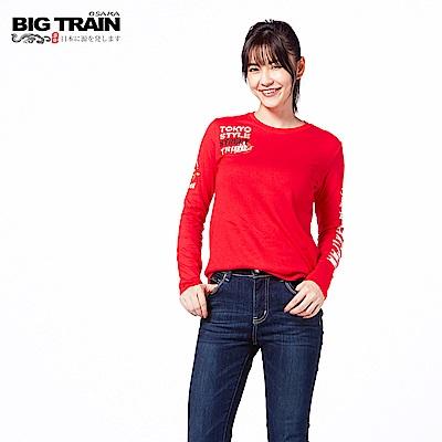 BIG TRAIN 硬派單寧長袖-女-紅