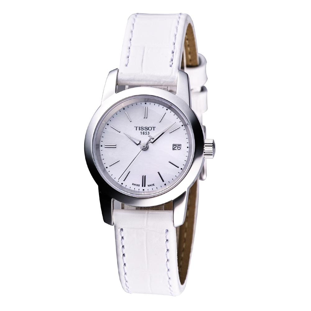 TISSOT CLASSIC DREAM 經典皮帶女錶(白)-28mm