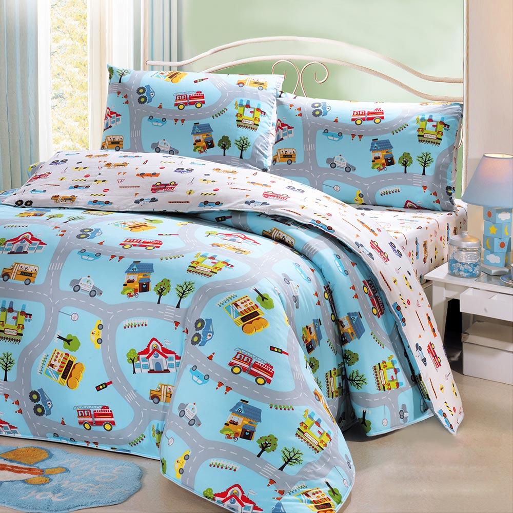 鴻宇HongYew 100%美國棉 防蹣抗菌-交通樂園 兩用被床包組 單人三件式